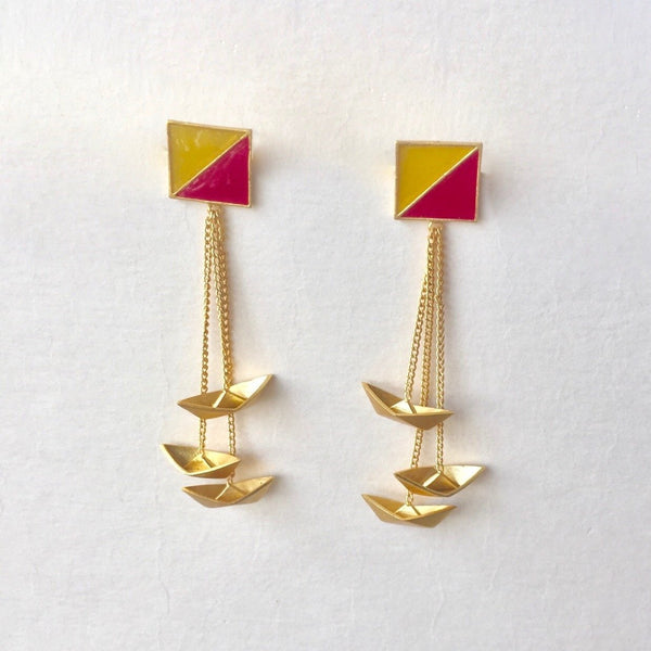 In Stock Earrings Yellow & Pink The Parish Earrings The Omnia Design Company