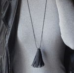 In Stock Necklace Black The Fringe Leather Necklace The Omnia Design Company