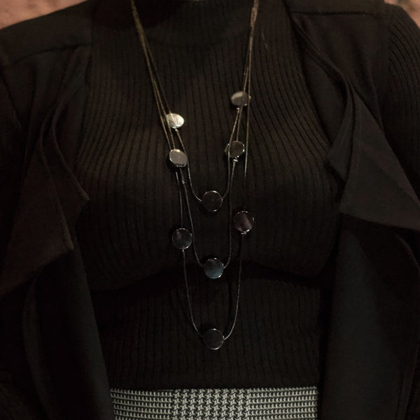In Stock Necklace Layered Black Necklace The Omnia Design Company
