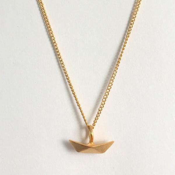 In Stock Necklace The Boat Origami Necklace The Omnia Design Company