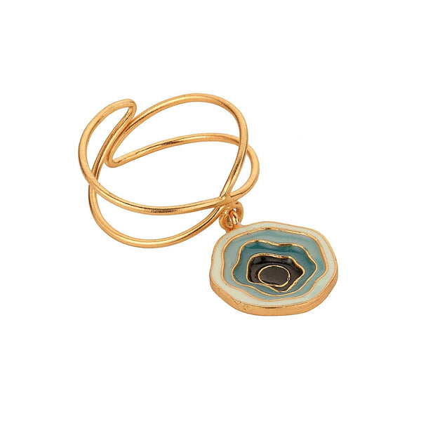 Madiha Jaipur Ring Hanging Abyss Ring in Blue