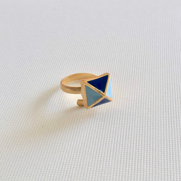 The Omnia Design Company Ring Pyramid Ring in Blue The Omnia Design Company