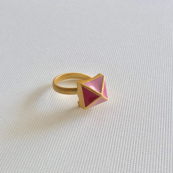 The Omnia Design Company Ring Pyramid Ring in Pink The Omnia Design Company