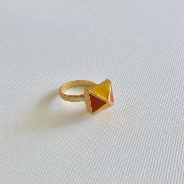 The Omnia Design Company Ring Pyramid Ring in Yellow and Orange The Omnia Design Company