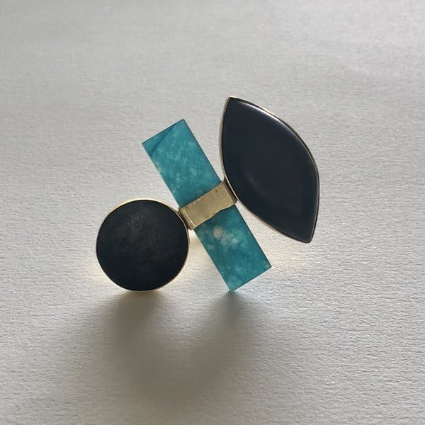 In Stock Ring The Teal Wooden Ring The Omnia Design Company