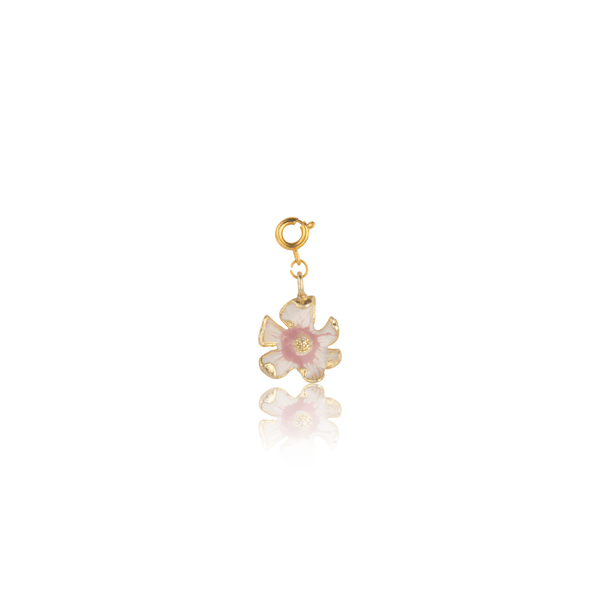 The Omnia Design Company White Pink Shaded Flower Charm