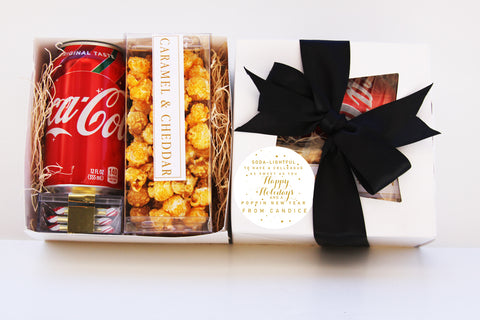 Holiday Gift Boxes -Gourmet Popcorn, Ghirardelli Chocolate, Beverage
