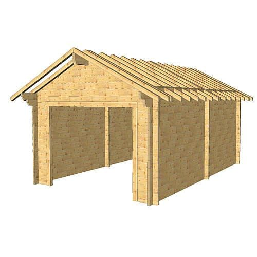 Garage madrier 58mm 3.5 x 5.5m kit bois nu