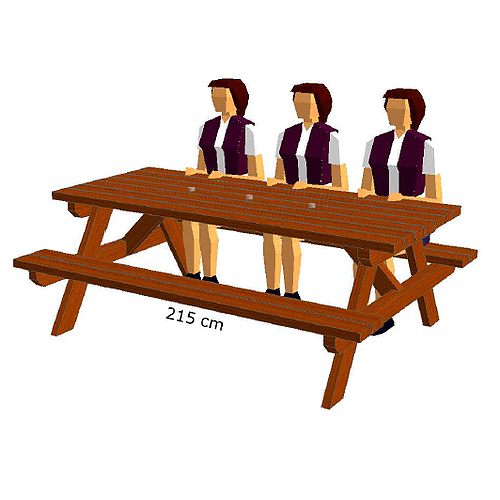 Table de camping 215 cm