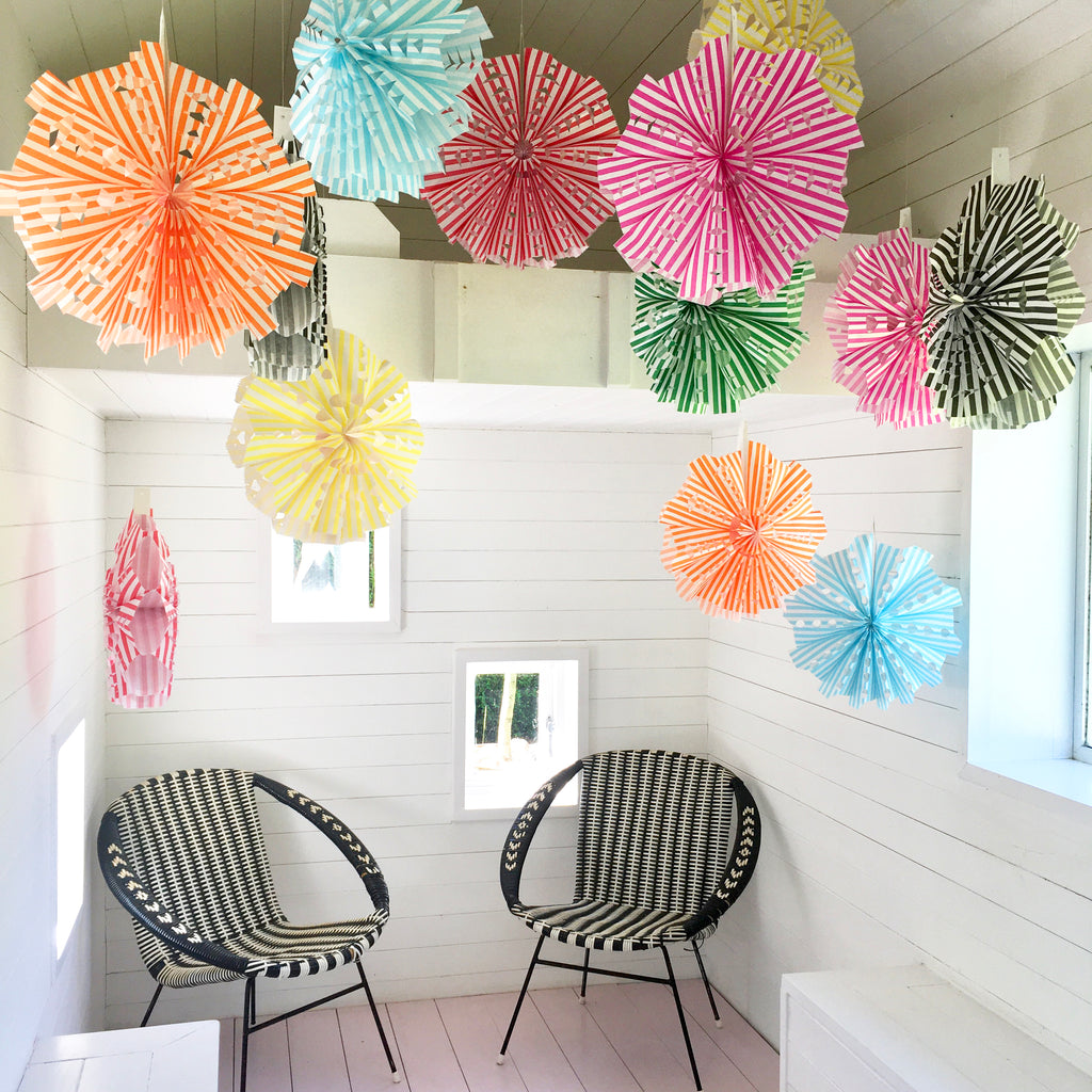 DIY Stripey Paper Bag Fan Decorations