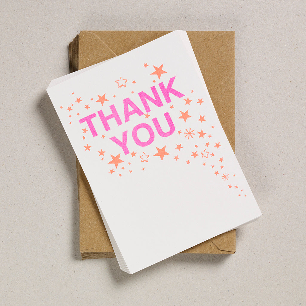 A6 Thank You Cards - Riso Starburst