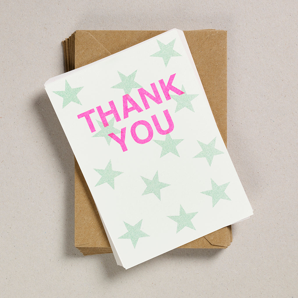 A6 Party Invites & Thank You Cards - Pale Green Star