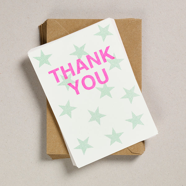 A6 Thank You Cards - Pale Green Star
