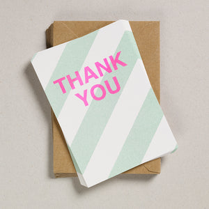 A6 Party Invites & Thank You Cards - Pale Green Diagonal Stripes