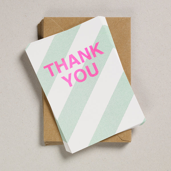 A6 Thank You Cards - Pale Green Diagonal Stripes