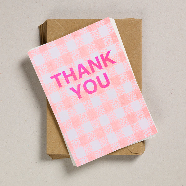A6 Thank You Cards - Orange Gingham
