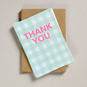 A6 Thank You Cards - Mint Gingham