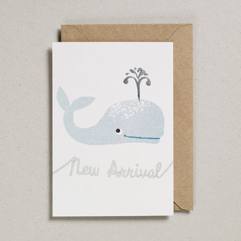 Riso Baby Card - Teal Whale