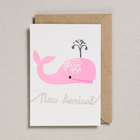 Riso Baby Card - Pink Whale