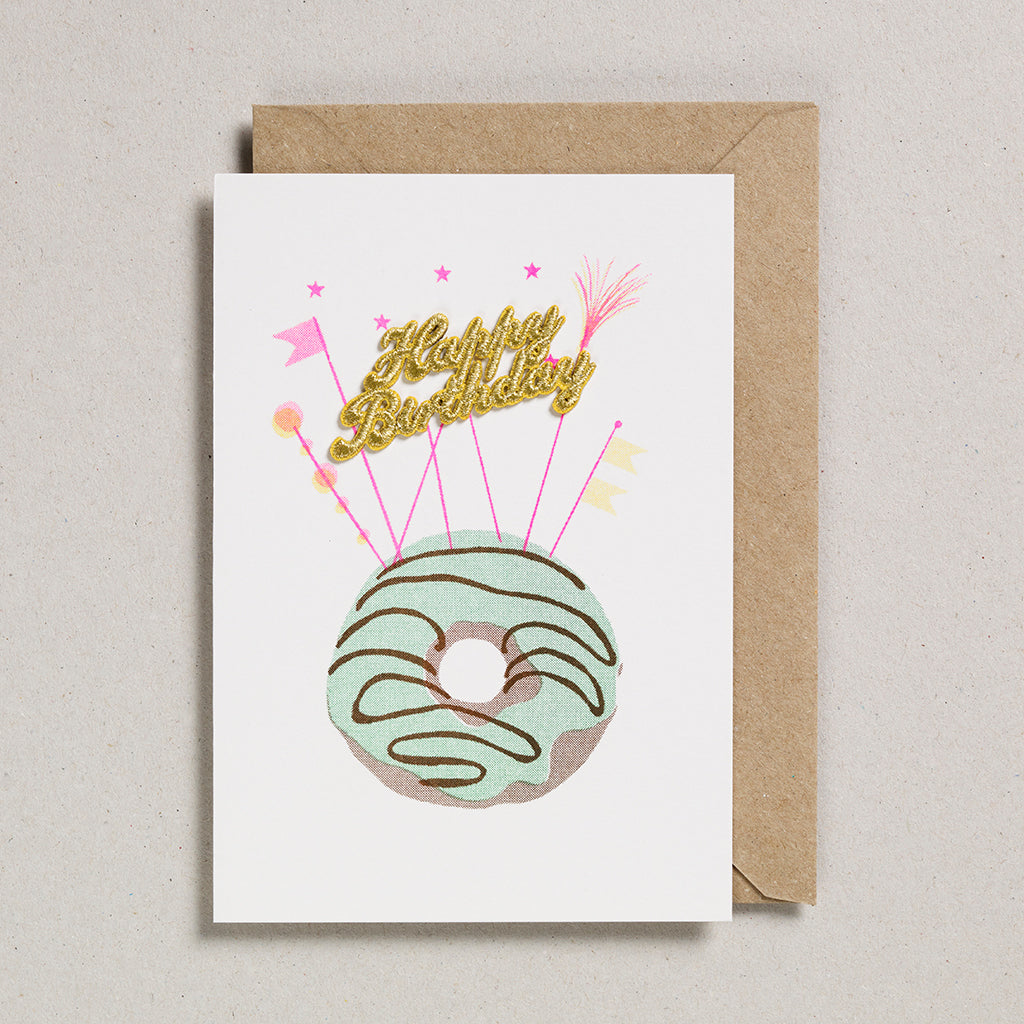 Cake Card - Happy Birthday - Mint Doughnut