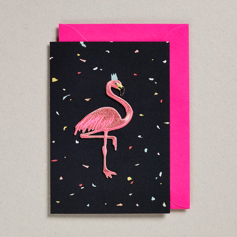 Iron on Patch Card - Flamingo - Black