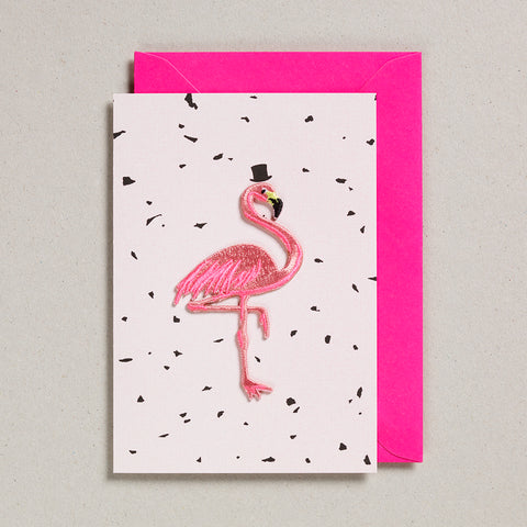 Iron on Patch Card - Flamingo - Pink