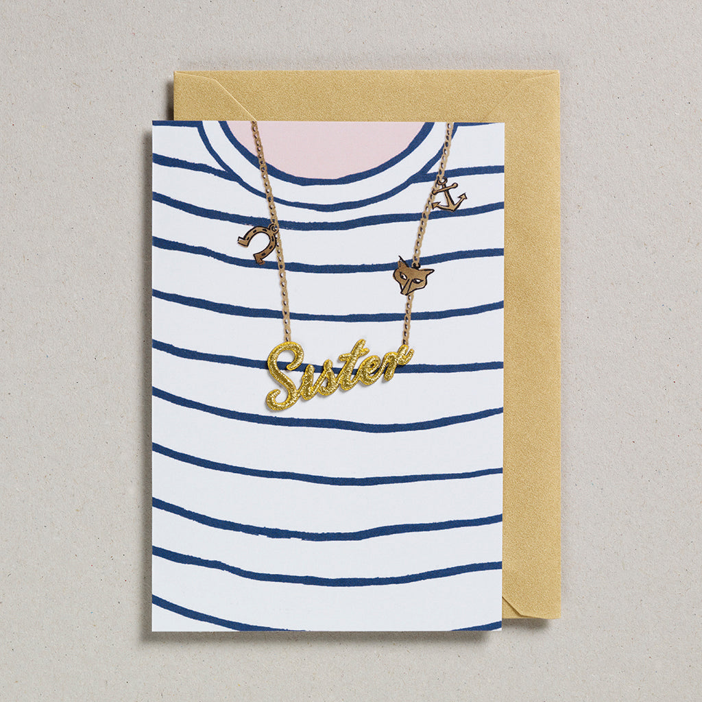Gold Word Card - Breton T-Shirt - Sister