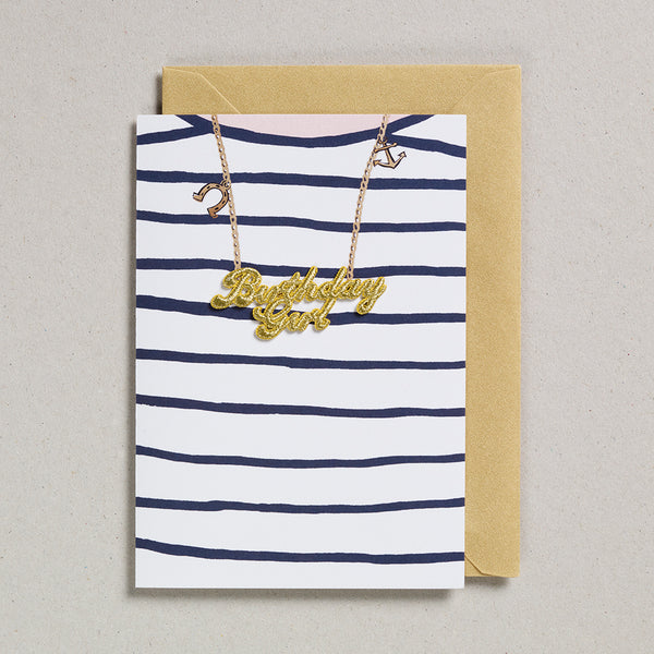 Gold Word Card - Birthday Girl Blue Stripe T-Shirt