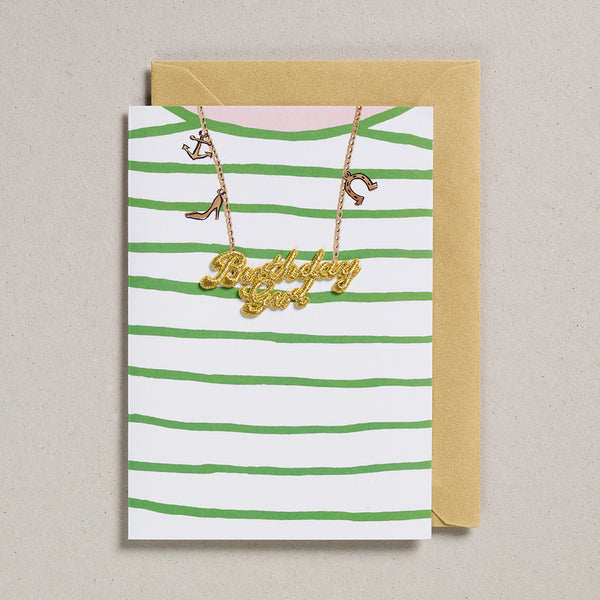 Gold Word Card - Birthday Girl Green Striped T-Shirt