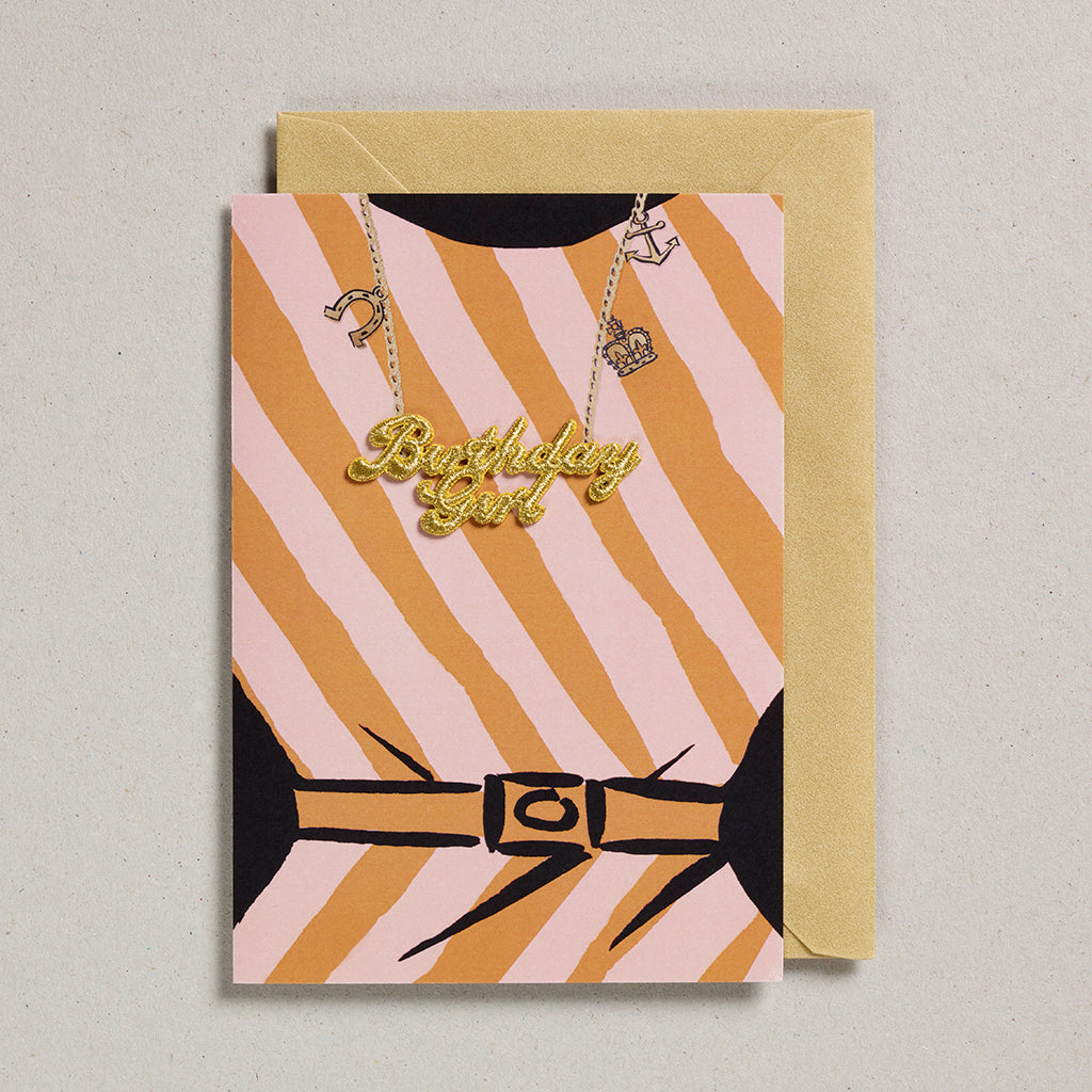 Gold Word Card - Birthday Girl Orange Stripe