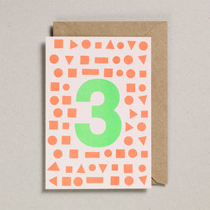 Number Cards - Acid Green/Orange - Age 3
