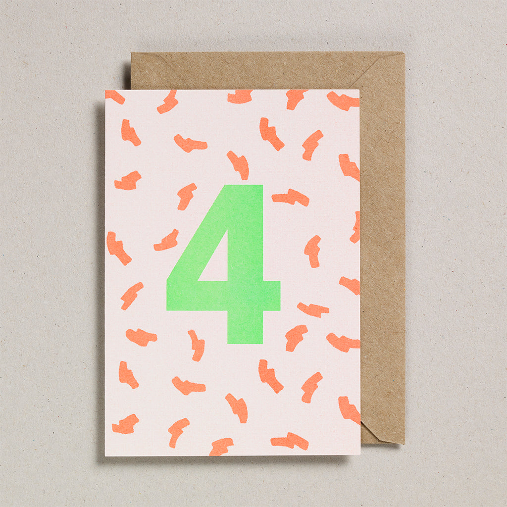 Number Cards - Acid Green/Orange - Age 4