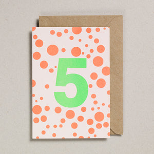 Number Cards - Acid Green/Orange - Age 5