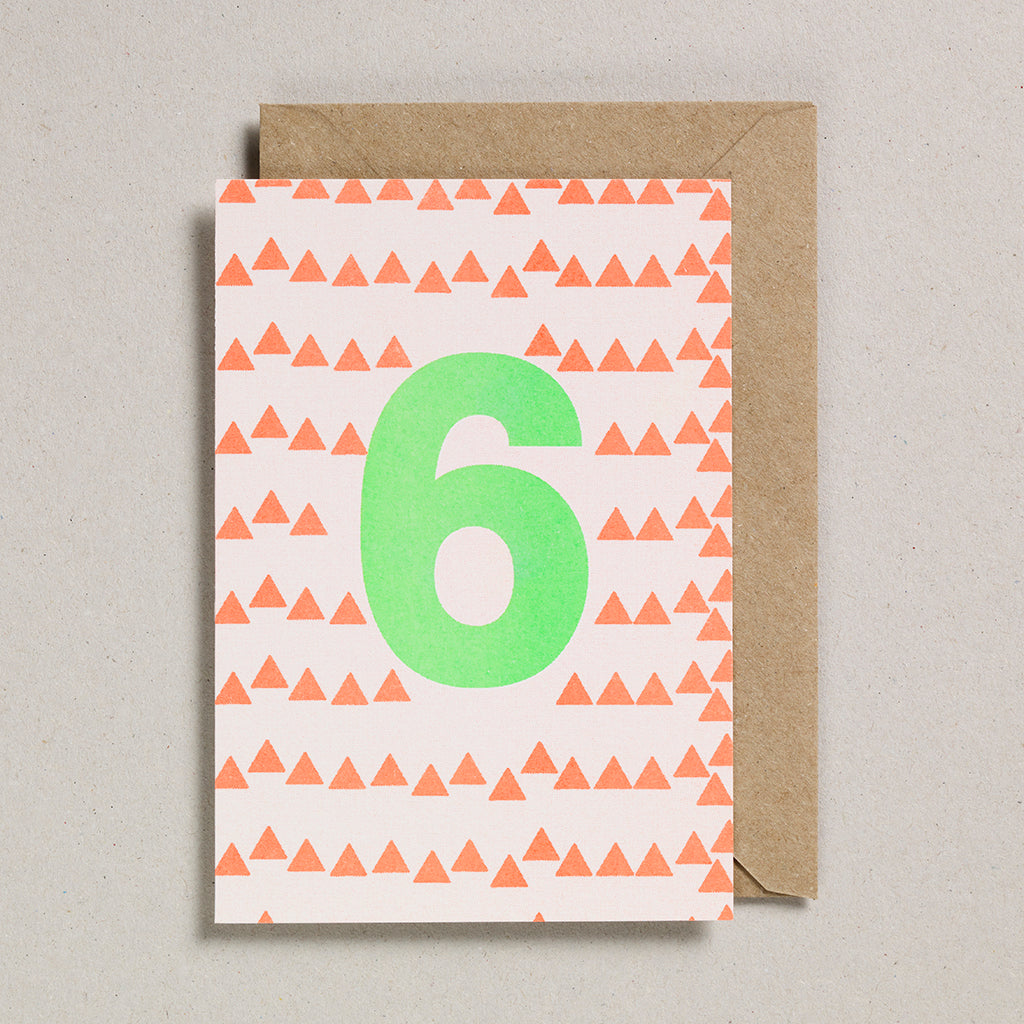 Number Cards - Acid Green/Orange - Age 6