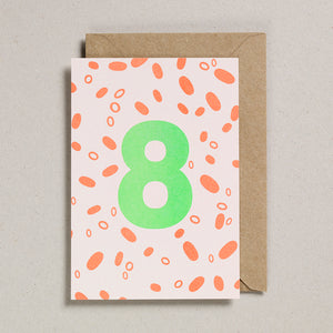 Number Cards - Acid Green/Orange - Age 8