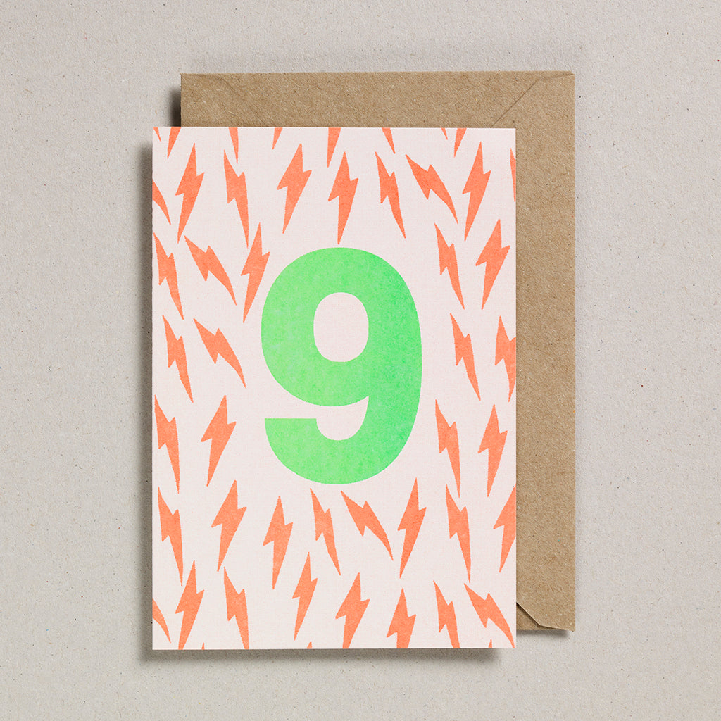 Number Cards - Acid Green/Orange - Age 9
