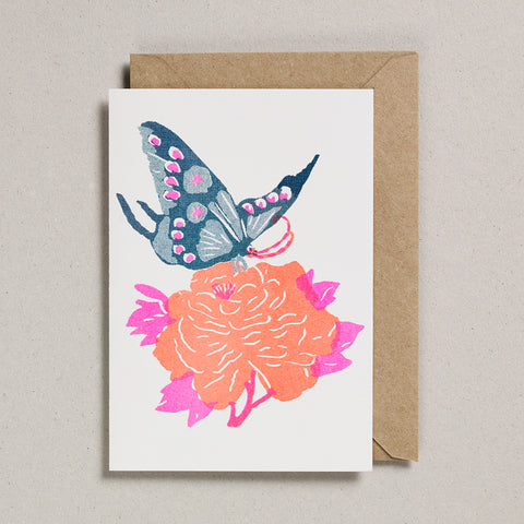 Riso Papercut Card - Teal Butterfly