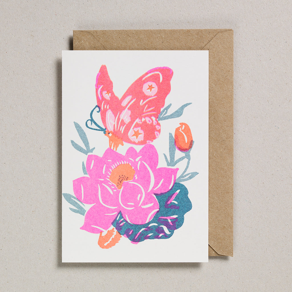 Riso Papercut Card - Pink Butterfly