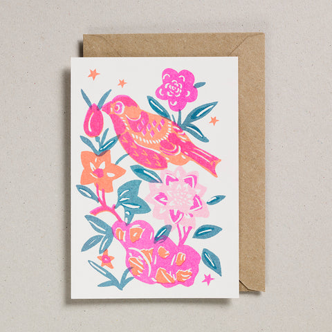 Riso Papercut Card - Bird