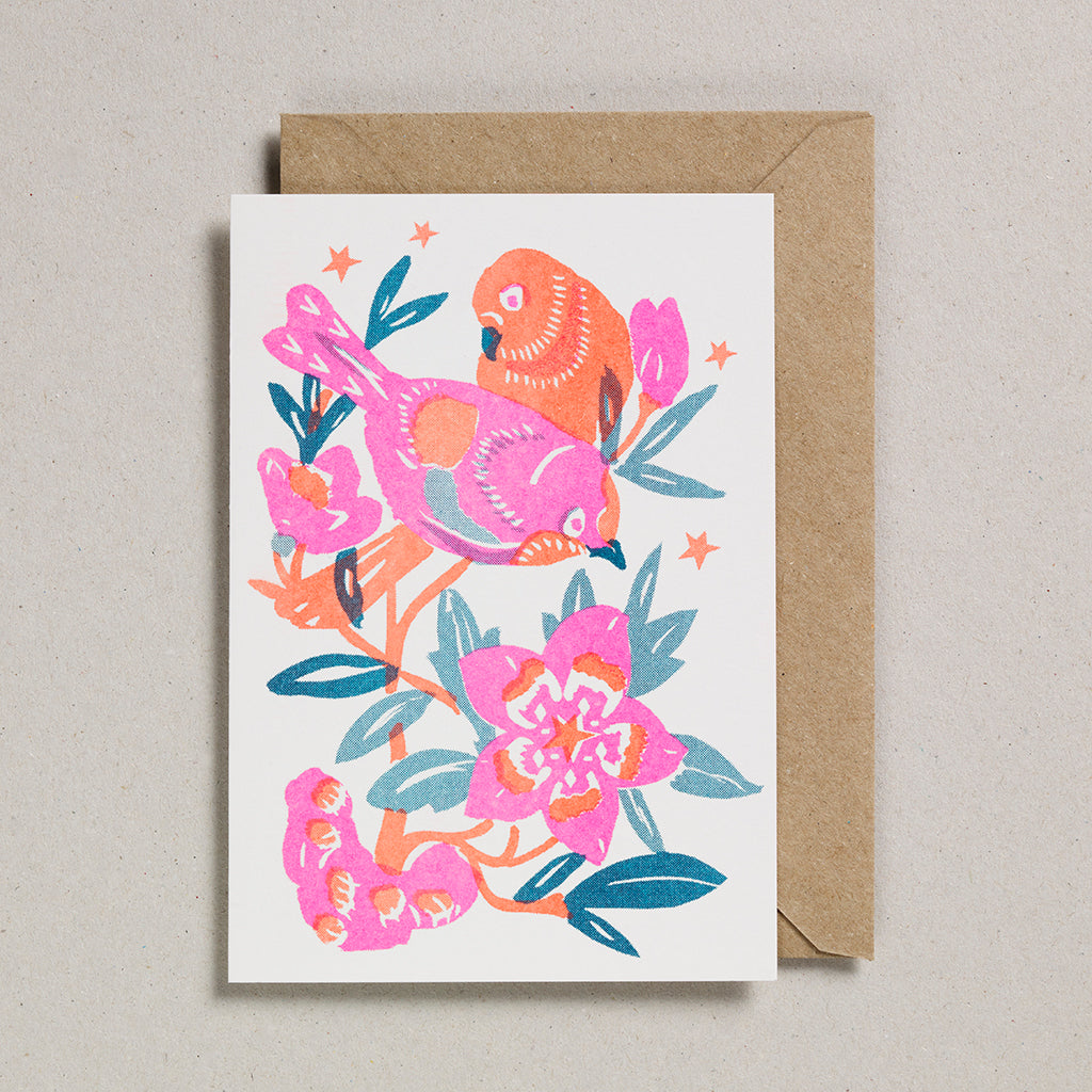 Riso Papercut Card - Love Birds