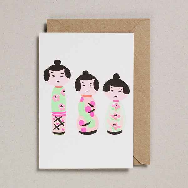 Riso Papercut Card - Dolls