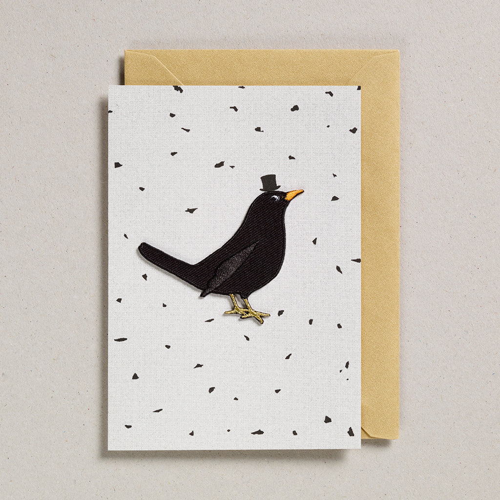 Iron on Patch Card - Black Bird