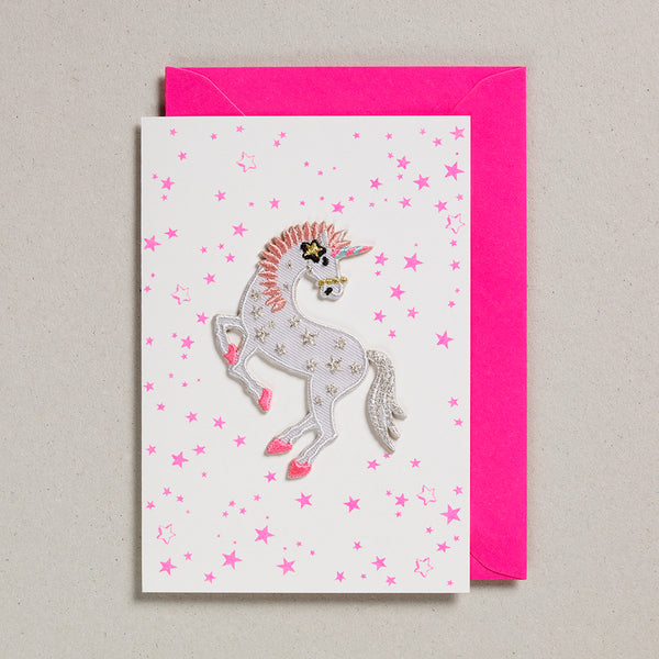 Iron on Patch Card - Unicorn Stars
