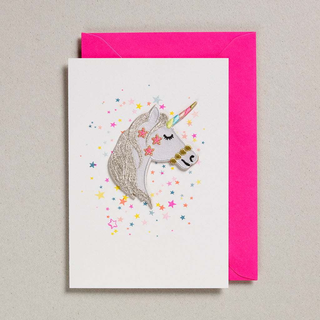 Iron on Patch Card - Unicorn Head