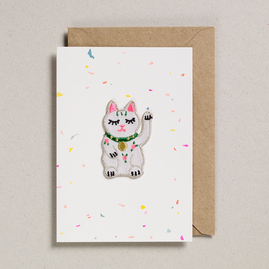 Iron on Patch Card - Lucky Waving Cat