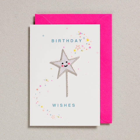 Iron on Patch Card - Birthday Wishes Star Wand
