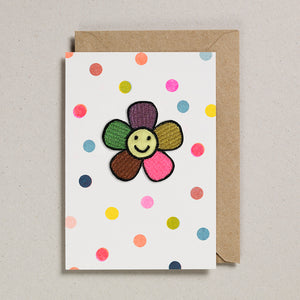 Iron on Patch Card - Happy Flower