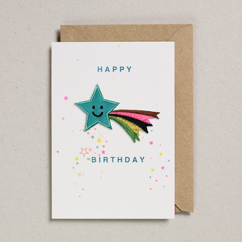 Iron on Patch Card - Birthday Shooting Star