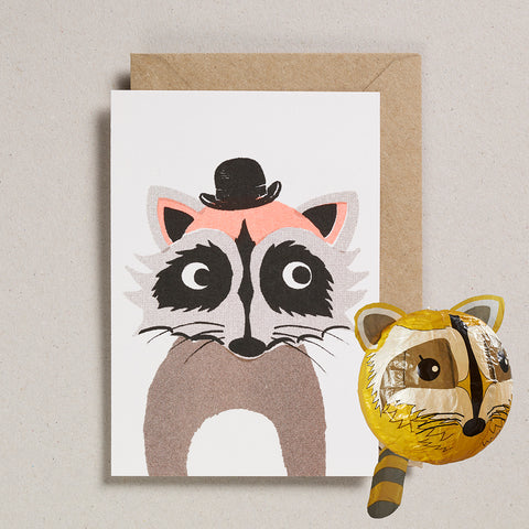 Paper Balloon Card - Raccoon