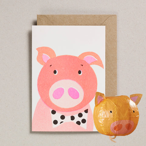 Paper Balloon Card - Pig